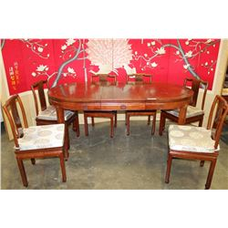 ROSEWOOD TABLE WITH LEAF AND 6 CHAIRS WITH CUSHIONS