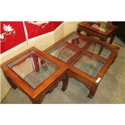 EASTERN STYLE GLASS TOP 3-PIECE COFFEE TABLE SET
