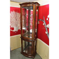 ILLUMINATED BOW FRONT DISPLAY CABINET