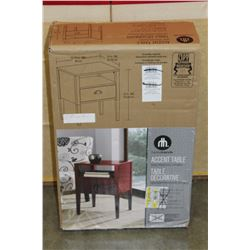 RED PAINTED ACCENT TABLE IN BOX