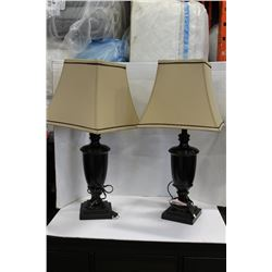 THREE TABLE LAMPS WITH SHADES
