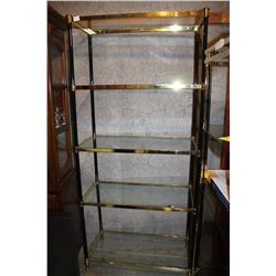 5 TIER BRASS AND GLASS SHELF UNIT