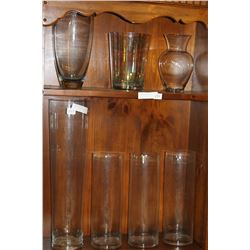 7 LARGE GLASS VASES