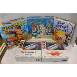 2 ELECTRONIC SCRABBLE GAMES & 3 BOARD GAMES