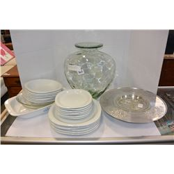 LOT OF WHITE DINNERWARE AND PYREX AND LARGE GLASS JAR