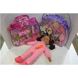 2 DISNEY ACCESSORY KITS AND DOLL