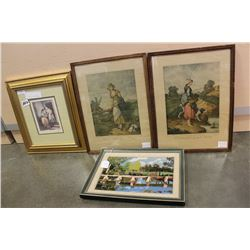 FOUR FRAMED VINTAGE PICTURES