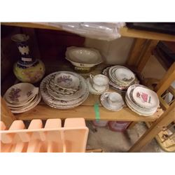SHELF LOT ASSORTED CHINA PLATES AND MORE