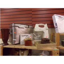 SHELF OF BREAD MAKER, MIXER & DISHES