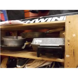 SHELF OF ELECTRIC FRYPAN & POTS