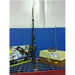 UGLY STICK FISHING ROD WITH MITCHELL LEVEL WIND REEL, TACKLE BOX, CONTENTS & APP ULTIMATE