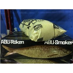 ABU-PORTABLE SMOKER WITH ONE BAG OF SMOKE CHIPS