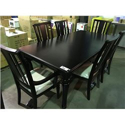 Contemporary dark wood dining table with 1 leaf 6 chairs for Dark wood dining table with leaf