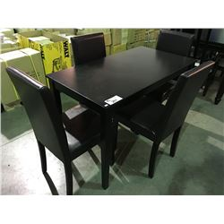compact apartment size dining table with 4 brown leather