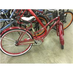 RED HUFFY CANADIANA SINGLE SPEED CRUISER BIKE