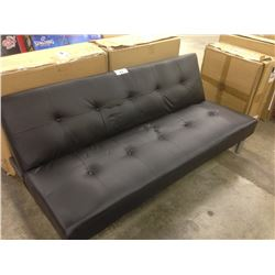 PAIR OF STEEL OUTDOOR FIREPLACES & BLACK FUTON
