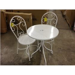 WHITE METAL OUTDOOR PATIO TABLE WITH 2 CHAIRS