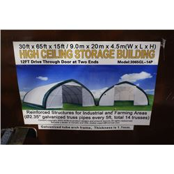 30' X 65' X 15' HIGH CEILING STORAGE BUILDING WITH 12' DRIVE THROUGH DOORS AT BOTH ENDS