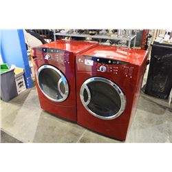 GE FRONT LOAD WASHER AND DRYER SET, RED