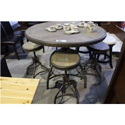 BAR HEIGHT TABLE WITH 4 BAR STOOLS