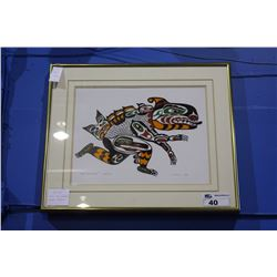 "FRAMED LIMITED EDITION NATIVE PRINT, ""SEA MONSTER"" BY J NELSON"