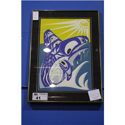 "FRAMED LIMITED EDITION NATIVE PRINT, ""MY SONS BACK KILLER WHALE"" SIGNED ON BACK"