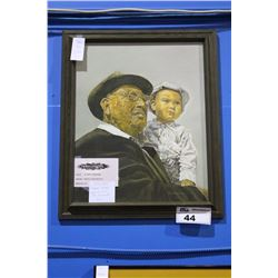 "FRAMED OIL PAINTING, ""SHARED WISDOM"" BY RUTH LANZAROTTA"
