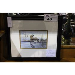 "FRAMED NATIVE PICTURE, ""THE RIVER OTTER"" BY WEST COAST ARTIST SUE COLEMAN"