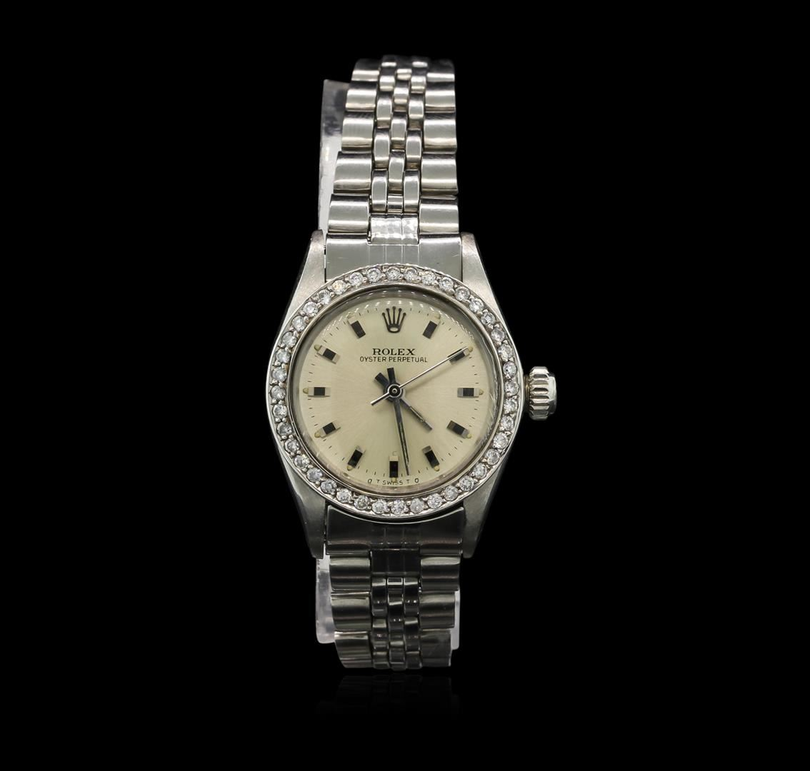 Ladies stainless steel rolex oyster perpetual watch with diamond bezel for Oyster watches
