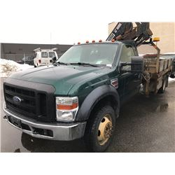 2008 FORD F-550 XL SUPER DUTY, FLATDECK, GREEN, VIN # 1FD5F57R88EA22893