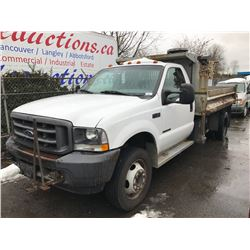 2002 FORD F-450 XL SUPER DUTY, 2 DOOR DUMP, WHITE, VIN # 1FDXF46F42EA54435