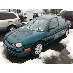 1996 PLYMOUTH NEON, 4 DOOR SEDAN, GREEN, VIN # 1P3ES47C7VD135578