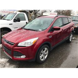 2015 FORD ESCAPE SE ECO BOOST, 4 DOOR SUV, RED, VIN # 1FMCU0G95FUC45797
