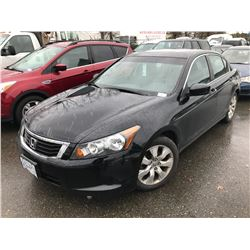 2009 HONDA ACCORD, 4 DOOR SEDAN, BLACK, VIN # 1HGCP268X9A807877