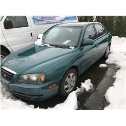 2004 HYUNDAI ELANTRA, 4 DOOR SEDAN, GREEN, VIN # KMHDN45D84U902959