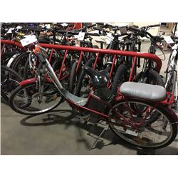 RED & GREY ELECTRIC BICYCLE - NO KEYS, NO CHARGER