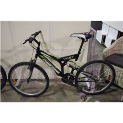 BLACK SUPERCYCLE VICE 18 SPEED FULL SUSPENSION MOUNTAIN BIKE