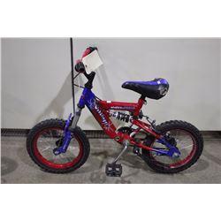 2 BIKES: RED WEBSLINGER FULL SUSPENSION KIDS BIKE & PURPLE NORCO KIDS BIKE