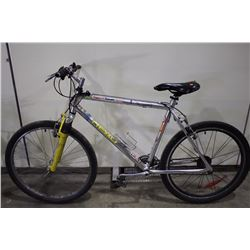 2 BIKES: CHROME HEAD FRONT SUSPENSION MOUNTAIN BIKE & BLUE RALEIGH MOUNTAIN BIKE