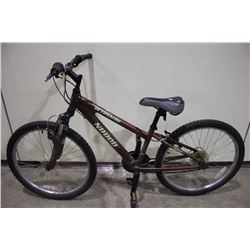 2 BIKES: BROWN NORCO FRONT SUSPENSION MOUNTAIN BIKE & SILVER NO NAME FRONT SUSPENSION HYBRID BIKE