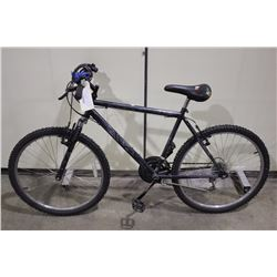 2 BIKES: BLACK NO NAME FRONT SUSPENSION MOUNTAIN BIKE & BLACK KUWAHARA HYBRID BIKE