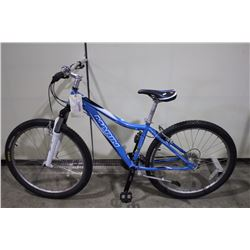 2 BIKES: BLUE MARIN FRONT SUSPENSION HYBRID & GREY RBK FRONT SUSPENSION MOUNTAIN BIKE