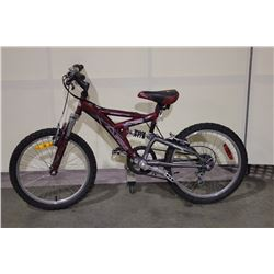 RED MCKINLEY 6 SPEED FULL SUSPENSION KIDS BIKE