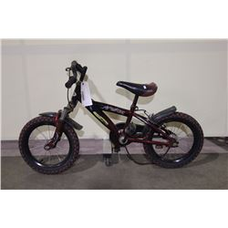 2 BIKES: RED SHIFTED GEARS FRONT SUSPENSION KIDS BIKE & BLACK NO NAME FRONT SUSPENSION KIDS BIKE