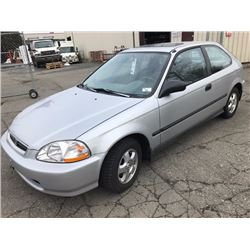 1996 HONDA CIVIC LX, 2 DOOR HATCHBACK. GREY, VIN # 2HGEJ6327TH008875