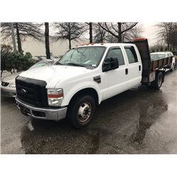 2008 FORD F-350 XL SUPERDUTY, 4 DOOR FLATDECK, WHITE, VIN # 1FD3W36R88EB32114