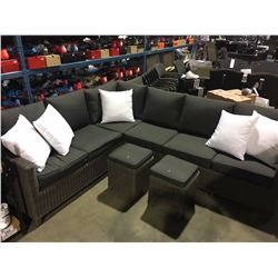 GREY WOVEN 6 SEAT PATIO SECTIONAL WITH 2 OTTOMANS & THROW CUSHIONS