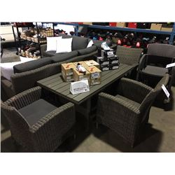 GREY WOVEN 4 PIECE OUTDOOR PATIO SET WITH TABLE & 3 ARM CHAIRS (MISSING 1 CUSHION)