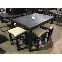 LEISURE DESIGN 7 PIECE DARK WOVEN OUTDOOR DINETTE HEIGHT/BAR STYLE OUTDOOR DINING SET