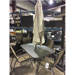 RECTANGULAR GLASS TOP PATIO TABLE WITH 4 CHAIRS & UMBRELLA